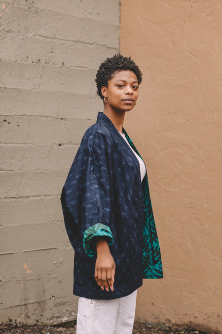 Two Way Kimono Coat - Navy+Teal Pineapple