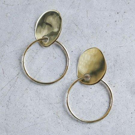 Modern Weaving Stone Hoop Earrings in High Polished Brass