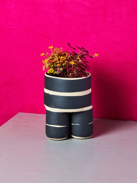 Workaday Handmade Planter - Beige/Black Stripes