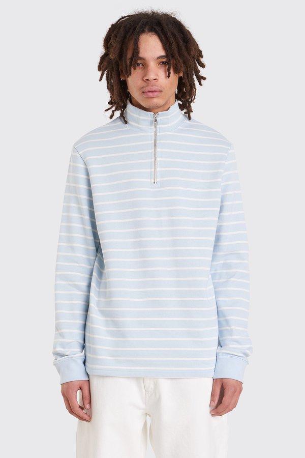 Tres Bien Half Zip Sweater Fleece Back - Pale Blue Stripe