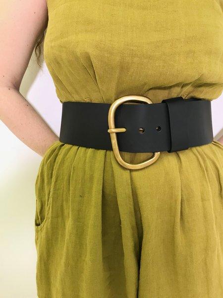 Rachel Comey Wide Estate Belt in Black Polished Leather