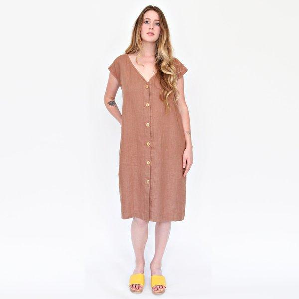 Esby Malia Linen Dress - Pecan