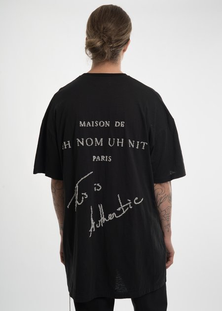 Ih Nom Uh Nit Oversized Crest T-Shirt w/ Pearls Top - Black