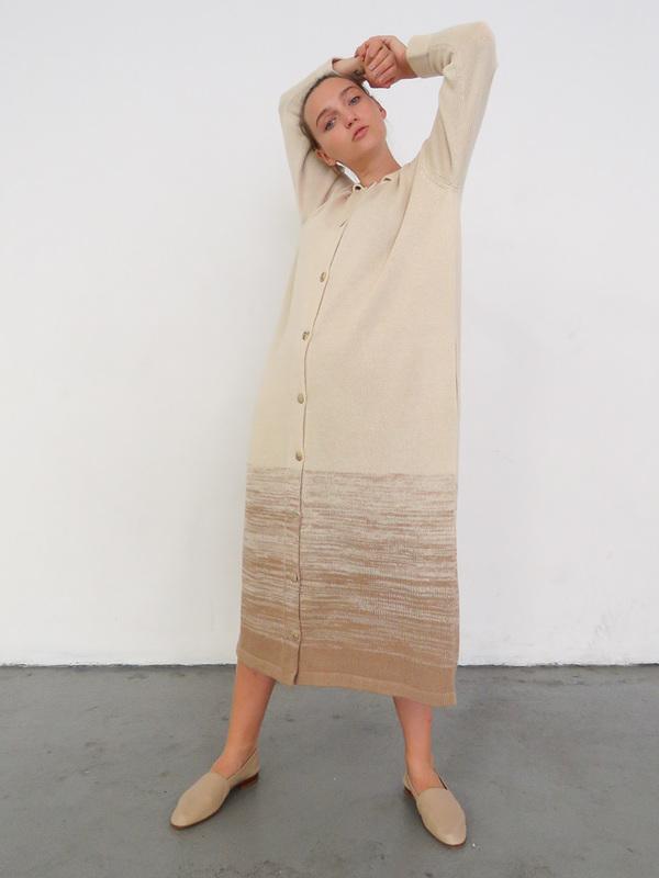 LAUREN MANOOGIAN GRADIENT SHIRT DRESS - BISQUE/CRUDO