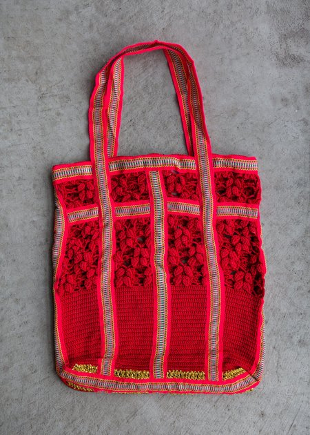 M.Patmos Magpie Laced Tote - Red/Coral