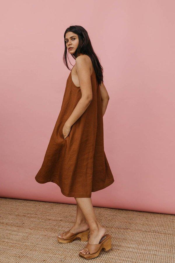 Wolcott : Takemoto Joni Dress in Brown Linen