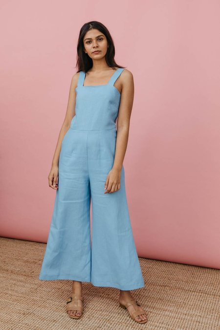 Wolcott : Takemoto Kate Jumpsuit in Sky Linen