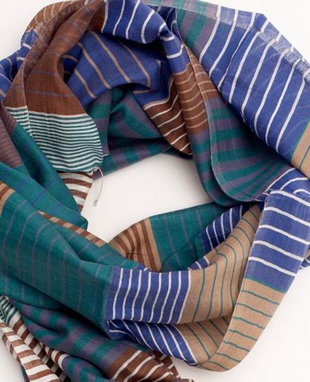 Indigo Handloom Multi Stripe Scarf - Blue/Brown/Teal