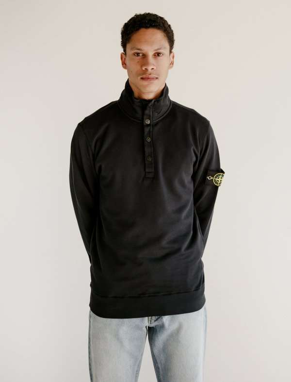 Stone Island Stand Up Collar Pull Over - Navy