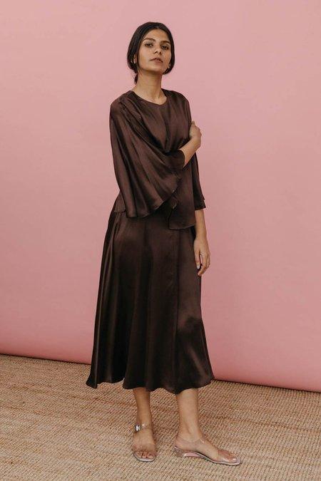 Wolcott : Takemoto Kepu Dress - Brown Silk Charmeuse