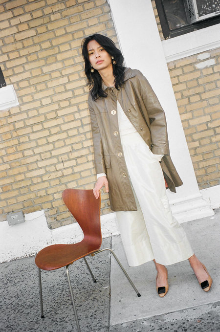 Either, And Vintage Beige Leather Swing Trench