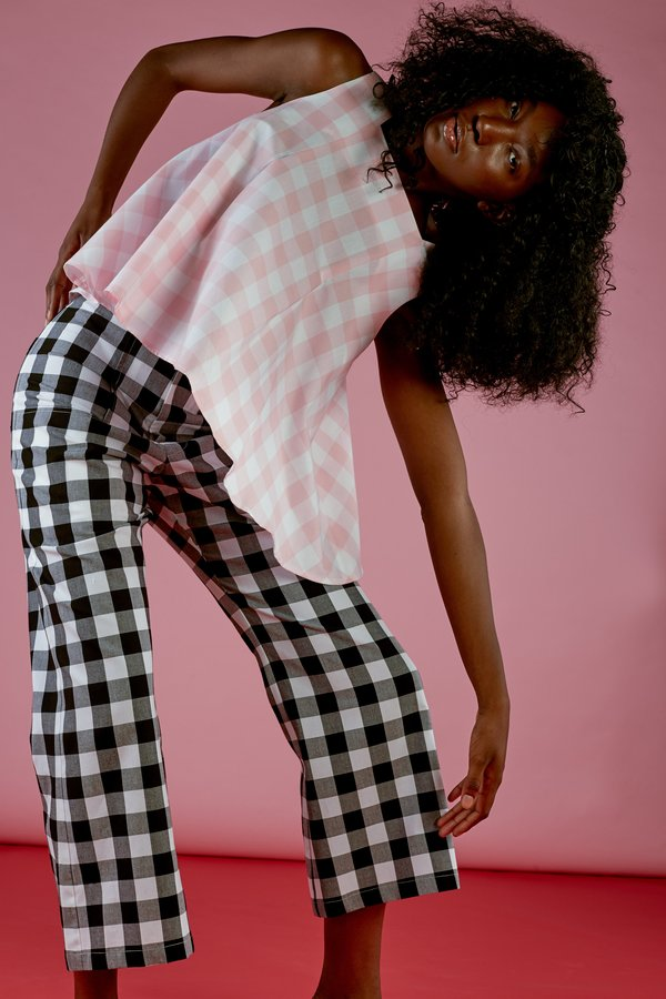 Wolcott : Takemoto Ella Top in Pink Cotton Gingham
