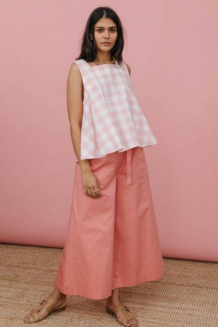 Wolcott : Takemoto Ella Top - Pink Cotton Gingham