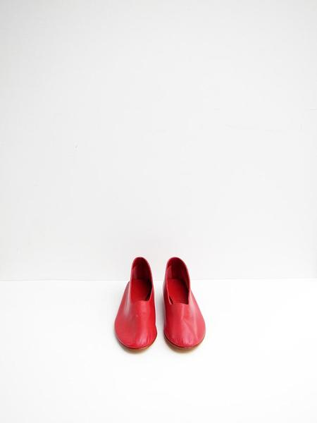 Martiniano Glove Leather Flats - Red