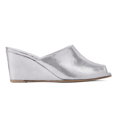Ops&Ops No15 Wedge Mules - Chrome
