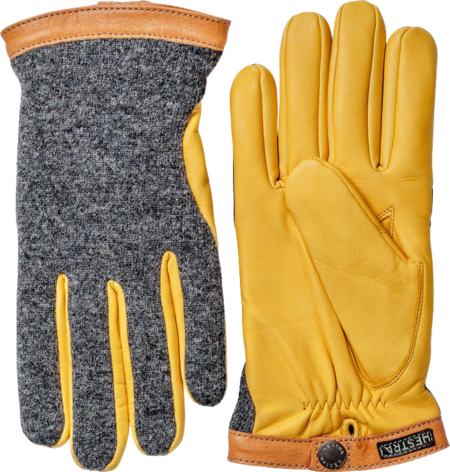 Unisex Hestra Deerskin Wool Tricot Gloves - Charcoal/Natural Yellow