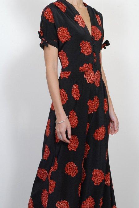 No.6 Athena Jumpsuit - Black & Poppy Hydrangea