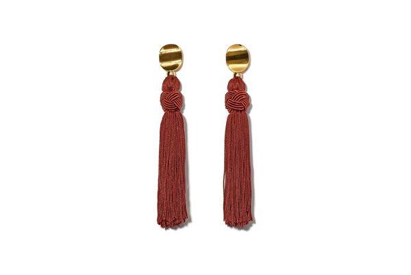 Lizzie Fortunato Sienna Luxe Tassel Earrings - Burgundy