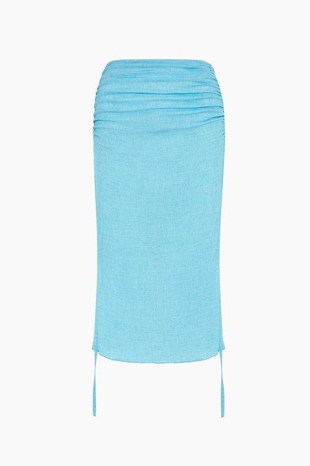 Edun Melange Gauze Rusched Midi Skirt - Blue