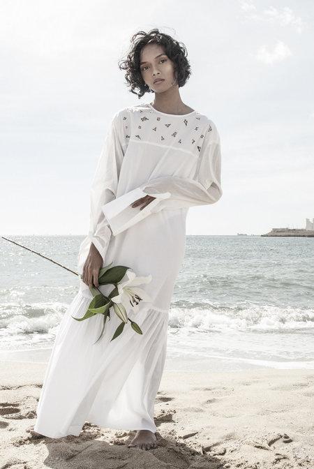 KM By Lange White Handmade Embroidery Vaselek Dress