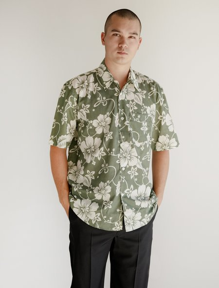 Our Legacy Initial Short Sleeve Shirt - Green Hibiscus Flower