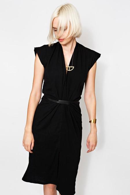 Miranda Bennett Knot Dress in Black Cotton Gauze