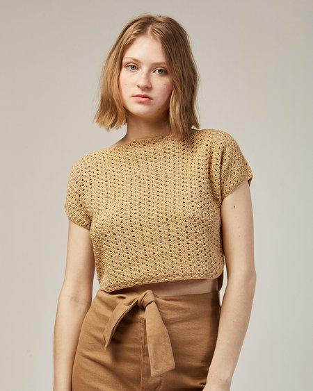 Rachel Comey Shout Crochet Top in Gold