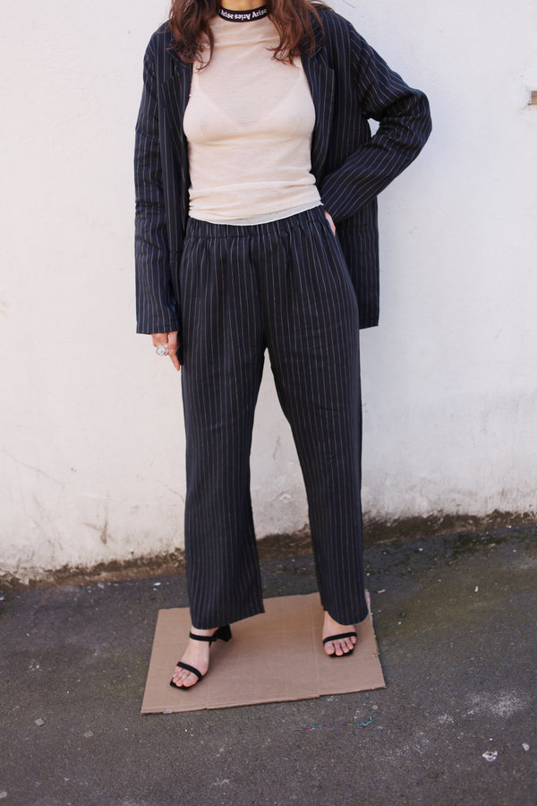 SHAINA MOTE Harlo Pinstripe Trousers - Navy with a white pinstripe
