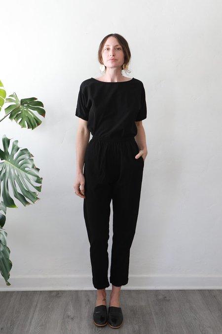 Me & Arrow Sleeve Tee - Black Slub Cotton