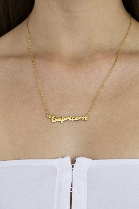 THENINETYNINE Capricorn Zodiac Nameplate Necklace – Gold Plated