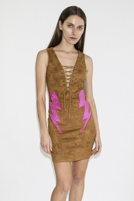 Lenni the Label Bolt Dress – Tan