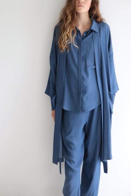 Soft Focus Denim Tux Robe –Blue