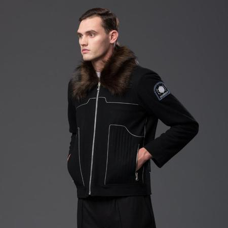N-p-Elliott Faux Fur Aviator Jacket - Black