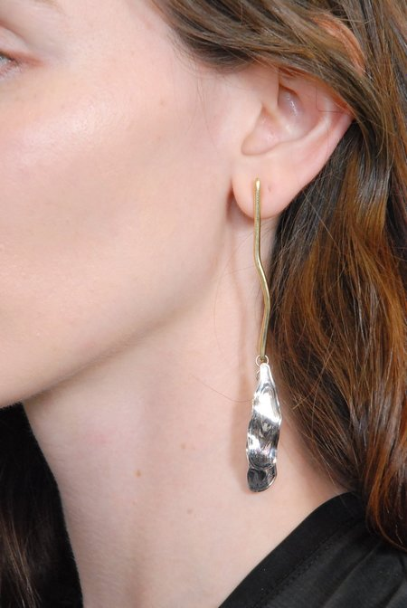 Leigh Miller Sea Twig Earrings - Brass and Sterling Silver