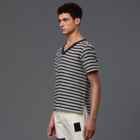 Thaddeus O'Neil Striped V-Neck Top - Navy