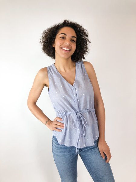 Bella Dahl Dot Cinched Waist Tank - Chambray