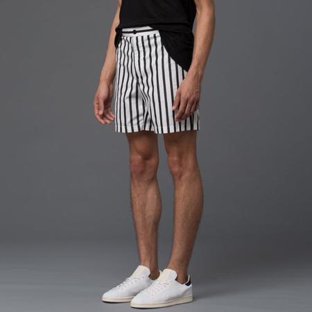 Carlos Campos Cargo Pocket Shorts - Black/White Stripe