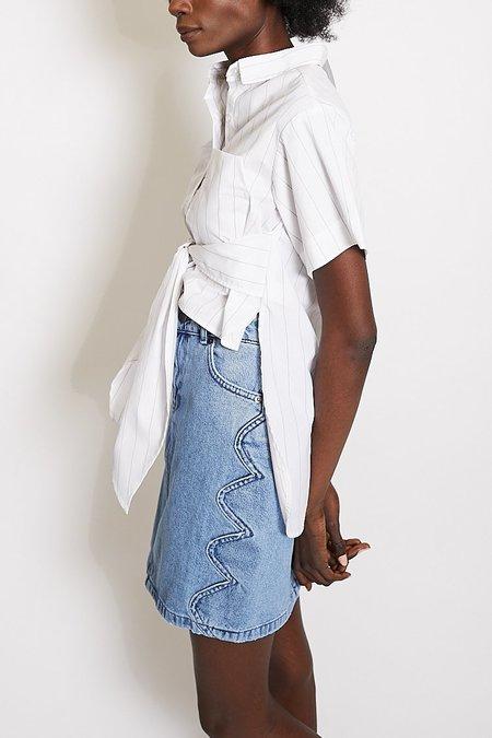 Toit Volant Marquette Shirt - White Blue Stripe