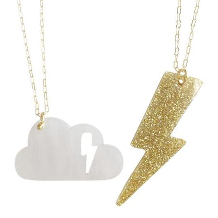 "Kids Atsuyo Et Akiko Cloudy Necklace Set of Two 18"" Brass Chain - Gold and White"