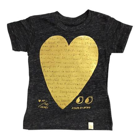 Kids Atsuyo et Akiko Eco Heather Tshirt Le Heart Black and Gold Pressed Foil - Heather