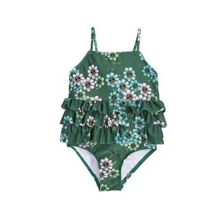 Kids Mini Rodini Daisy Frill Swimsuit - Dark Green