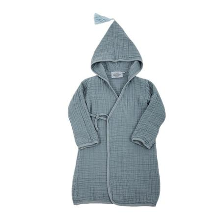 KIDS Moutmout Paris Pepin Muslin Bathrobe - Cool Blue