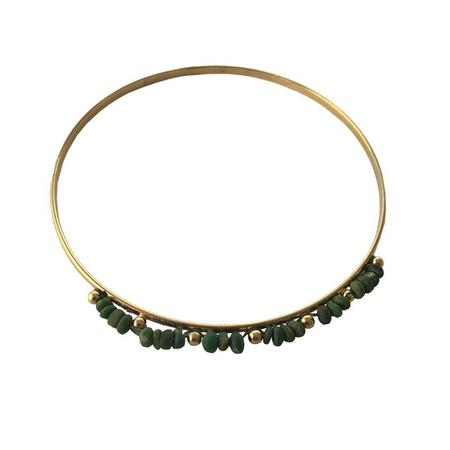 Polder Alaska Bracelet 2 Gold Bangle With Green Stones