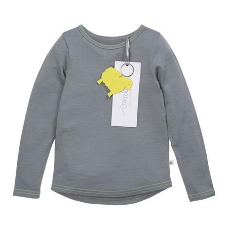 Kids Smalls Long Sleeved Merino Shirt - Grey With Yellow Stitch