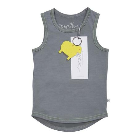 Kids Smalls Vest Top - Grey With Yellow Stitch