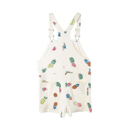 KIDS Stella McCartney Pandora Jersey Short Overall - White With Pineapple Print