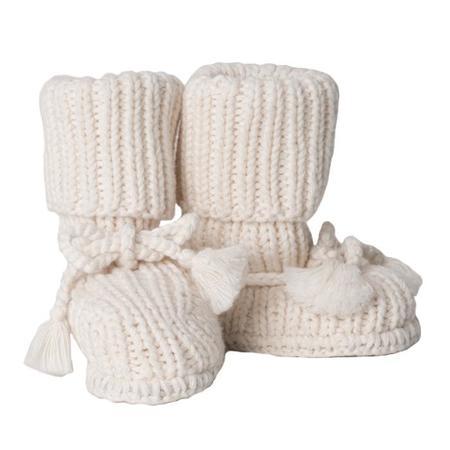 Kids Tane Organics Socks Booties with Ties - Ecru