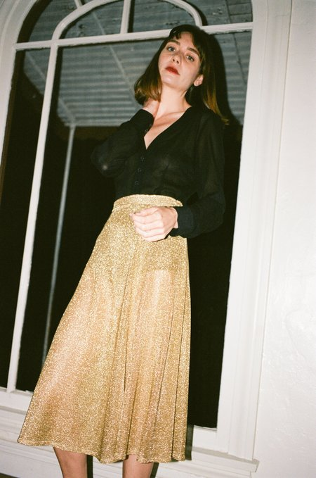PRISCAVera Metallic Midi Skirt - Gold