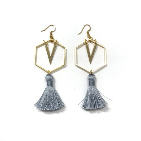 Marijke Bouchier Giant Honeycomb and Tassel Earrings