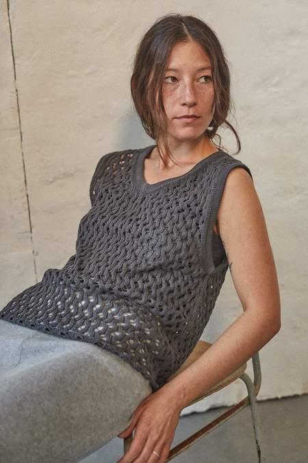 Wol Hide Lace Mesh Tank - Washed Black